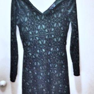 One clothing velvet green skater dress M